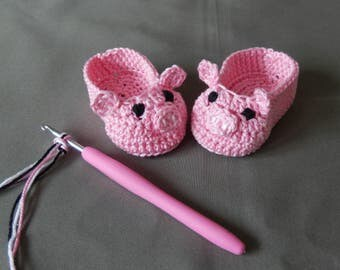 crocheted baby slippers pink piglets or panda bear