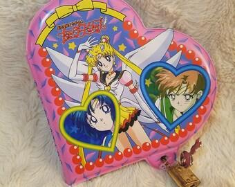 Sailor Moon Sailor Stars Diary Heart-shaped Memo with Lock and Key 1997