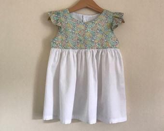 Girls Liberty ruffle sleeve dress / Baby Liberty ruffle sleeve dress