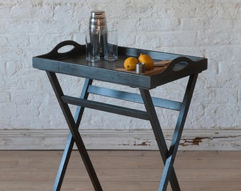SALE* Restored & Up-cycled Butler Tray Table hand painted in Graphite Black Chalk Paint