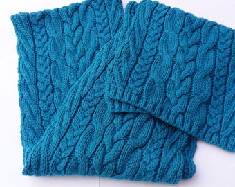 Vintage scarf,Sea blue scarf,Knitted scarf,Winter scarf,Long scarf