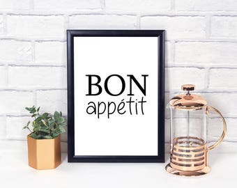 Bon Appetit Wall Print - Wall Art, Home Decor, Kitchen Print, Dancing Print