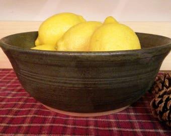 Slate green pottery serving bowl,  pottery serving bowl,  pottery mixing bowl, ceramic bowl,  pottery bowl, pottery centerpiece