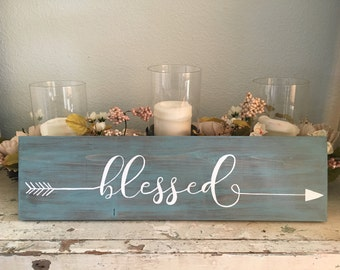 """Rustic Wooden Arrow """"Blessed"""" Sign with Customized Colors & Size"""
