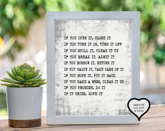 Family Rules House Rules Classroom Rules Daycare Printable Art Digital Print You Print and Frame If you open it, close it