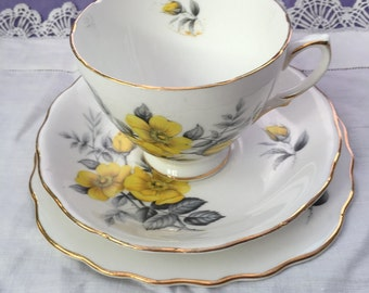 Royal Vale Bone China Tea cup trio Yellow Roses and Grey leaves - pattern 7979
