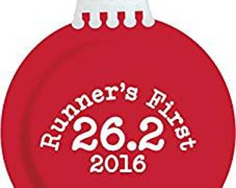 Runner's First 26.2 Christmas Ornament 2016 (Shiny Red)