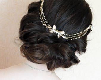 Hair Chain Headpiece Crystal bridal headpiece ohemian Head Piece Bridal Headpiece Rhinestone headpiece bridal halo Gold leaf Hair Chain