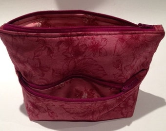 Two (2) Compartment Makeup Pouch in Burgundy