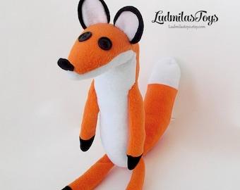 little prince handmade fox - fleece fox - prince fox - cuddly fox - red fox - button eye fox