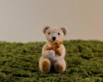 Teddy Bear with plush toy, Needle felted animals, cute soft toy, gift