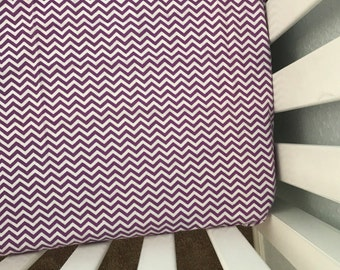 Purple chevron crib sheet. Snuggly flannel, baby girl, purple