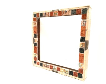 Terra Cotta Mosaic Picture Frame Decorative Frame Square Frame Stone Tile Ceramic Tile Frame Mosaic Art Mosaic Tiles Mosaic Photo Frame