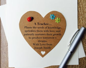 Handmade Personalised Thank you Teacher Poem Card