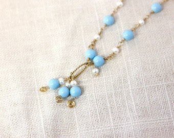 German Turquoise and Fresh Water Pearl, 14K Gold filled Necklace