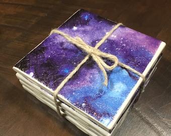 Handmade, galaxy ceramic tile coaster