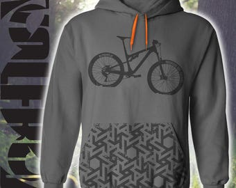 Mountain bike hooded sweatshirt graphic print pocket, mountain bike. Soft sublimation print. Hoody -