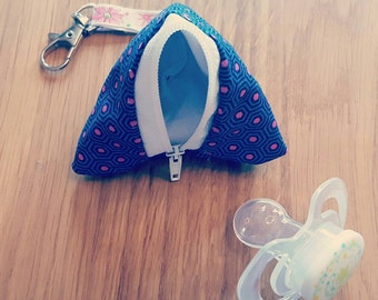 Pacifier Pocket - dark blue with pink dots