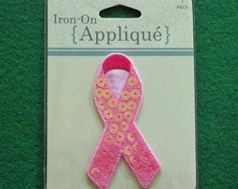 Iron On Breast Cancer Ribbon With Iridescent Sequins  Free Shipping