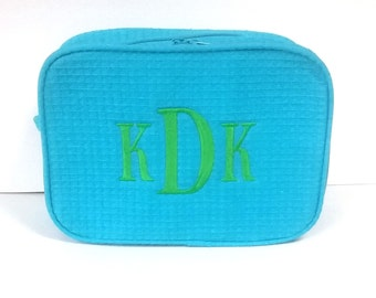 Large Cosmetic Bag with Pocket and Monogram / Monogrammed Make-Up Bag / Waffle Weave Bag / Bridesmaid Gift / Bridal Party Gift