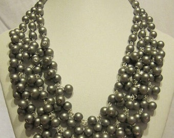 Grey Blue Cluster Necklace