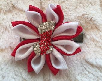 Kanzashi Christmas Ribbon Hair Bow
