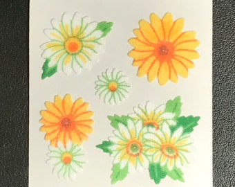 Sandylion Stickers Scrapbooking Fuzzy Vintage FLOWERS, Flower, Daisy, Daisies     (1 mod)