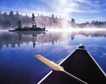 Morning Mist on Lake with Canoe, Algonquin Park, Ontario, Canada