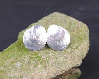 Silver Hammered Disc Stud Earrings