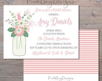 Floral Mason Jar Bridal Shower Invitation - Mason Jar Invitation - Bridal Shower Invitation - Pink and Green Bridal Shower Invite