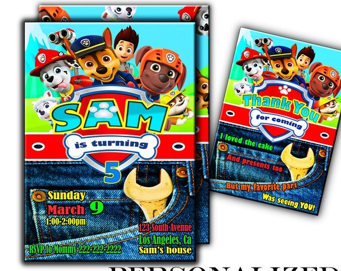Paw patrol invitation jeans paw patrol invite paw patrol birthday paw patrol invites paw patrol party SALE free thank you card free backside