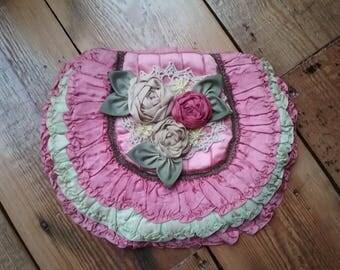 Vintage boudoir handkerchief stockings case holder antique ribbonwork