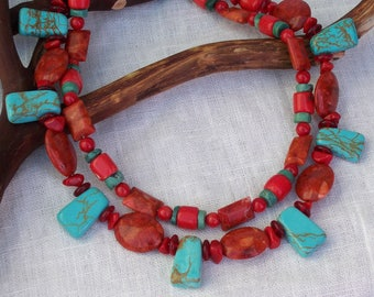 Southwest coral and turquoise double-stranded necklace!