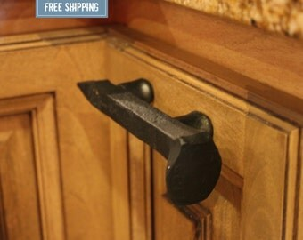 Railroad Spike Cupboard Handle Dresser Drawer Pull Cabinet Knob Antique Vintage Old Rustic Re-purposed -BLACK-