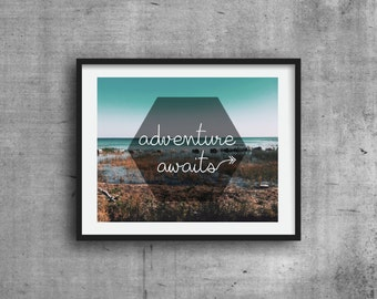 Adventure Awaits, Art Print, Graphic Print, Digital Print, Wall Decor