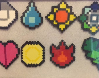 Gen 1 Pokemon Badges Framed | Perler Design |