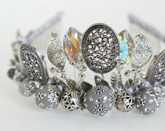 Crown RUSSIAN TREASURE, Beaded Crown, Wedding Crown, Bridal Tiara, Hair Accessories, Crystal Crown, Crystal Tiara, Royal crown, Hairband