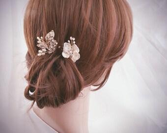 Bridal Hair Pin, Wedding Hair Comb, Bridal Comb Set, Gold Hair Accessories, Gold Hair Jewelry, Pearl Hair Pin