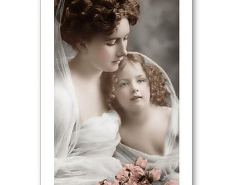 Personalised Handmade Greetings Card ~ Vintage Postcard of a Mother & Child # 11