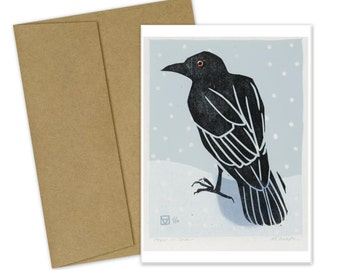 Crow in Snow Greeting Card