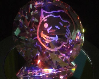 Hand Engraved Diamond Shaped Glass Paperweight (60 mm)