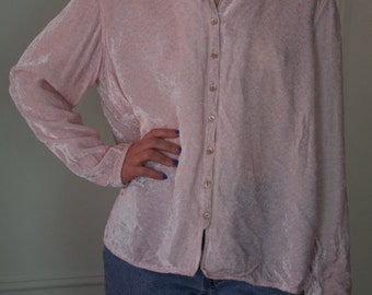 Pale Pastel PINK CRUSHED VELVET blouse shirt top Sz M