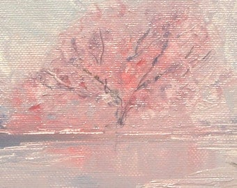 The Sakura at the Lake - Oil Painting, Hand Painted Sakura 24 x 30 cm