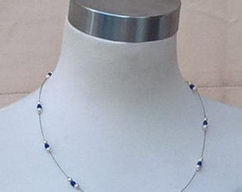 NECKLACE, Blue and Pearl beads, Lightweight. made from recycled materials where possible.