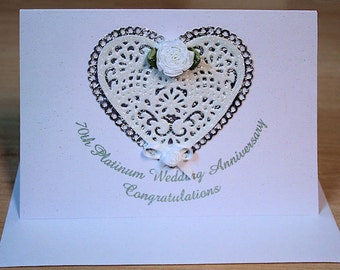 70th Platinum Wedding Anniversary Glitter Sparkle Congratulatory Card