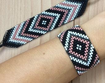 Seed Bead Woven Bracelet // Hippie Boho // Beadwork Handwoven