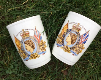 Two 1953 beakers to commemorate the coronation of Queen Elizabeth II