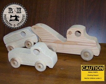 Wood Toy Tow Truck Set