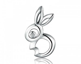 sterling silver Rabbit pendant charm for necklaces