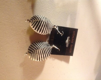 black and white shell earrings